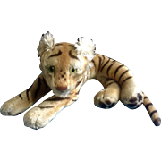 Vintage Steiff Bengal Tiger 1952-1953 Large Stuffed Plush Animal Green Glass Eyes Mohair Germany 23""