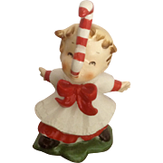 Rare Norcrest F267Two Candy Cane Christmas Girl Mid-Century Ceramic Figurine Japan