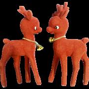 Vintage 1960's Pair Red Flocked Reindeer Gold Tone Bell Christmas Animal Deer Figurines