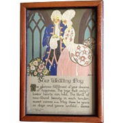 1928 A Buzza Motto Your Wedding Day Poem Lithograph Print in Original Frame