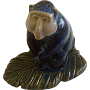 Blue Stoneware Baboon Ape Mountain Monkey Pottery Figurine
