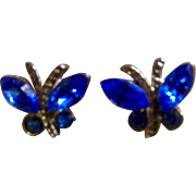 Small Little Blue Butterfly Gold Tone Pierced Earrings