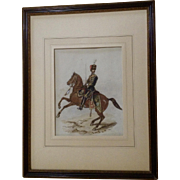 Richard (R.) Simkin  (1840 - 1926) Calvary Charge of a British Hussars 7th Queen's Own Light Dragoons Watercolor Painting Signed by Listed Artist