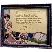 Somebody's Thinking of You, Vintage Print Poem Picture
