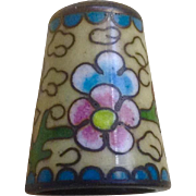 Vintage Cloisonné Thimble For Sewing Enameled Porcelain With Pink and Blue Flowers