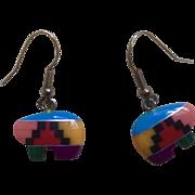 Vintage Southwestern Indian Bear Hook Earrings for Pierced Ears Costume Jewelry
