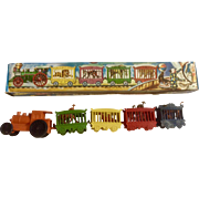 Mid-Century Circus Train Set Birthday Cake Topper Plastic Made in Hong Kong Toy