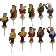 Vintage J P Denton Gnome Elves Music Band Cake Toppers Birthday Candle Holders Made in Hong Kong Set 11