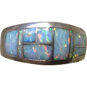 Vintage Sterling Silver 925 Inlaid Opal Ring Size 5.5