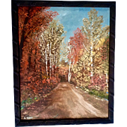 A. Malone, Oil Painting on Board Autumn Splendor Signed by Michigan Artist 1971