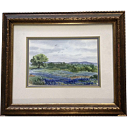 Susie Short Texas Bluebells Wildflower Landscape Watercolor Painting Works on Paper Signed by Artist