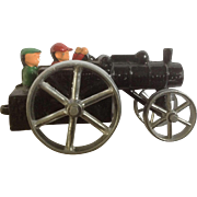 Peerless Steam Engine Cast Iron Train or Tractor with 2 Engineers Vintage Metal Hand Painted Toy