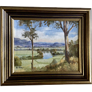 D J Boyd, Landscape Oil Painting on Canvas Board, River Valley Signed by Australian Artist