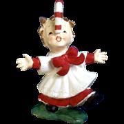 Rare Norcrest F267 Candy One Cane Christmas Girl Mid-Century Ceramic Figurine Japan