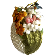 Vintage Gorgeous Easter Egg Ornament Faux Pearls Flowers Little Mail Birdie Decoration