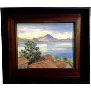 F. Poggio G. Italian Coastal Landscape Oil Painting Of Volcano and Rooftops, 1982 Signed by Artist