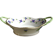 Herend Blue Garland Pattern Small Oval Basket with handles Very Rare Hungary Hand Painted Porcelain Candy or Condiment Dish 7420 PBG 192