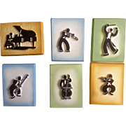 Mid-Century Selmer Solo-ette Musicians Chalkware Wall Plaques Elkhart, Indiana