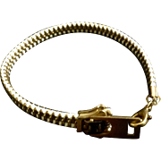 Vintage YKK Zipper U Y5G White & Gold Tone Bracelet Costume Jewelry
