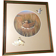 Jeanne Horak, Mallard Duck on a Nest, Works on Paper Mixed Media Watercolor, Ink and Tempera Painting Signed by Fitz & Floyd Colorado Artist