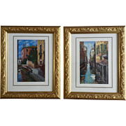 M. Claudio, Venice Canal Waterway Pair of Landscape Acrylic Paintings Signed By Artist