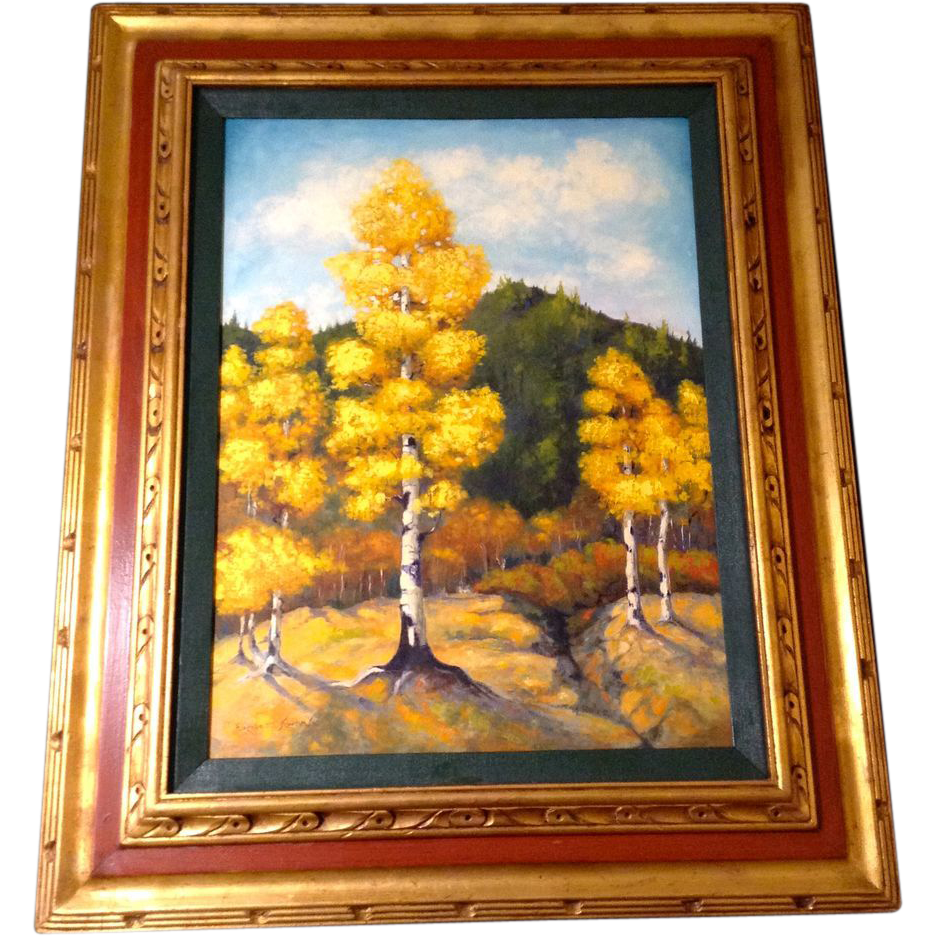 Elizabeth kwaak smischny 1936 1984 golden aspen trees in for Gold paintings on canvas