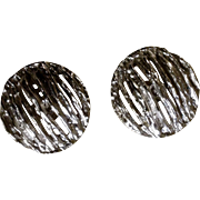 Vintage Trifari Silver Tone Fashion Clip Earrings Costume Jewelry