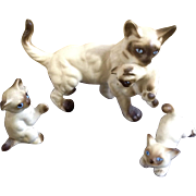 Vintage Bone China Miniatures Mother Siamese Cat and Kittens Family Set Vintage Japan Animal Figurines