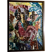 J Sanpedro Abstract Two Figurals Holding Rooster Oil Painting Signed by Philippines Artist 1969