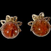 Stunning Vintage Orange Silver Swirl Marble Glass Clip Earrings Costume Jewelry