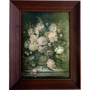 Lydia Dunham Smith Fabian (1857-1947) Still Life Floral Lithograph Behind Convex Glass