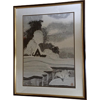 Black Birds Flying Over Snow Covered Landscape Home and Pond Asian Watercolor Painting Signed and Monogrammed by Artist