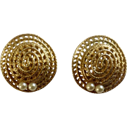 Vintage Ciner Gold Tone Earrings Shaped Like Hats with Faux Pearls Clip Earrings Costume Jewelry