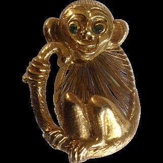Vintage Monkey Gold Tone Pin with Rhinestone Green Eyes Costume Jewelry