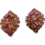 Beautiful Vintage Pink Sparkle Rhinestone Clip Earrings Costume Jewelry