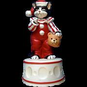 1985 Schmid Black Kitty Cat Clown Music Box Plays, Send in the Clowns Gordon Fraser Ceramic Figurine