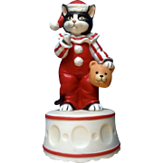 1985 Schmid Black Kitty Cat Clown Music Box Plays, Send in the Clowns Gordon Fraser Ceramic Figurine