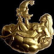 Vintage JJ Jonette Lady Holding a Crescent Moon Celestial Gold Tone Brooch Pin