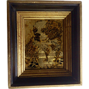 Gold Leaf Puppy Dog Reverse Glass Painting Signed by Artist Kara 1975