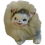 1959 Bradley California Creations Ceramic Kitty Cat with Feather Fur Made in Japan Figurine