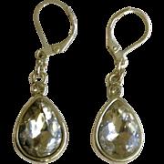 Vintage Sparkle Tear Drop Crystal Clear Pierced Earrings Costume Jewelry
