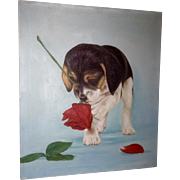 Adorable Beagle Puppy Dog Playing with a Rose Flower Oil Painting on Canvas
