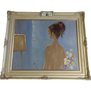 Igor Pantuhoff (1911 - 1972) Slender Back of Young Nude Girl Oil Painting on Canvas Signed by Listed Artist