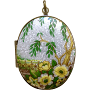 Vintage Floral Design Photo Locket Costume Jewelry Pendant