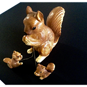 Vintage Mama Squirrel and Babies Chained Ceramic Figurine Family