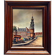 Francken, Dutch Street Scene, Painting on Porcelain Tile, Munttoren Cathedral in Amsterdam, Signed by Artist