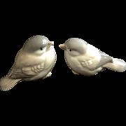 Vintage Pair of Baby Brown Finch Birds Ceramic Figurines Homco Japan