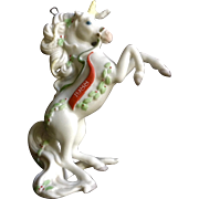 1988 White Unicorn Christmas Tree Ornament Enesco Taiwan Ceramic Figurine