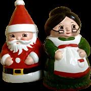 Vintage Josef Originals Santa and Mrs Claus Salt and Pepper Shakers Christmas Japan