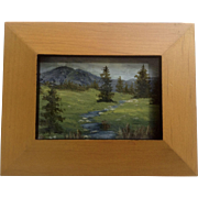 Small Oil Painting on Canvas Mountain Stream Across a Green Field